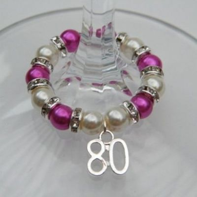 80th Birthday Wine Glass Charm - Full Sparkle Style